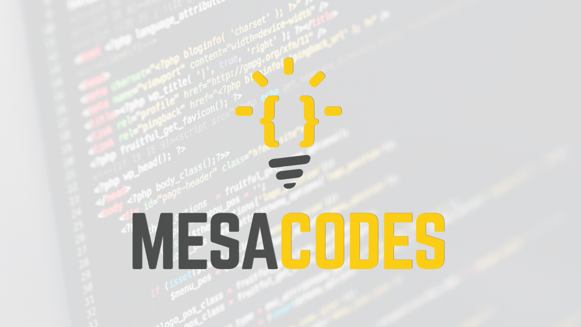 "Coding on screen with ""Mesa Codes"" text over it"